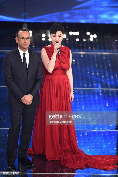 Carlo Conti and Arisa attend the opening night of the 65th Festival di Sanremo 2015 at Teatro Ariston on February 10 2015 in Sanremo Italy