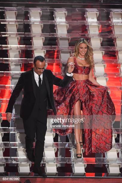 Carlo Conti and Diletta Leotta attend the opening night of the 67th Sanremo Festival 2017 at Teatro Ariston on February 7 2017 in Sanremo Italy