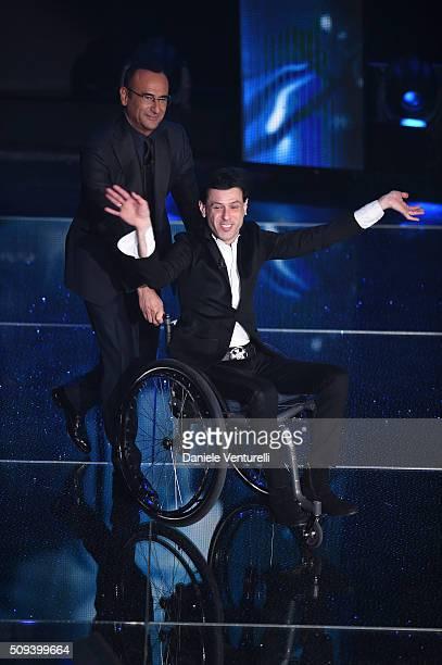 Carlo Conti and Ezio Bosso attend second night of the 66th Festival di Sanremo 2016 at Teatro Ariston on February 10 2016 in Sanremo Italy
