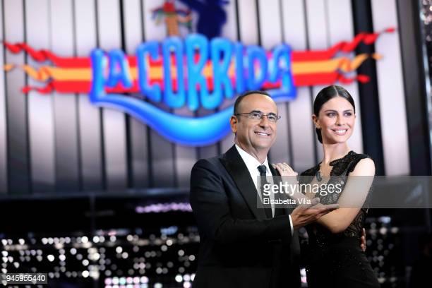 Carlo Conti and Ludovica Caramis attend 'La Corrida' tv show on April 13 2018 in Rome Italy