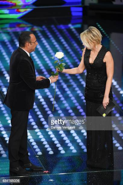 Carlo Conti and Maria De Filippi attend the opening night of the 67th Sanremo Festival 2017 at Teatro Ariston on February 7 2017 in Sanremo Italy