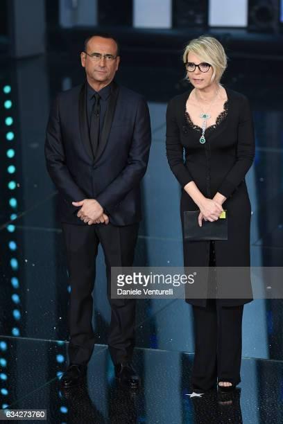 Carlo Conti and Maria De Filippi attend the second night of the 67th Sanremo Festival 2017 at Teatro Ariston on February 8 2017 in Sanremo Italy