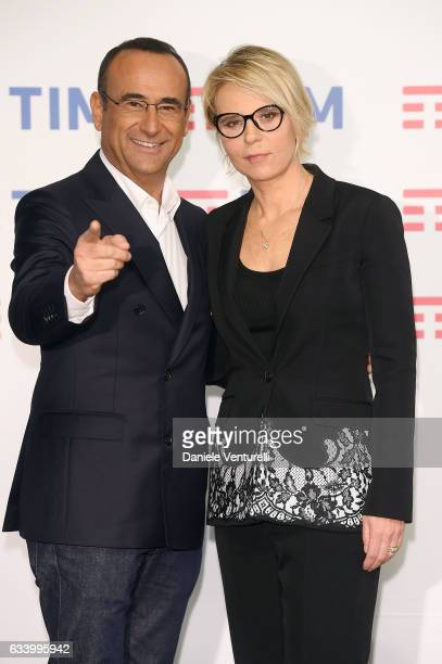 Carlo Conti and Maria De Filippi attends a photocall for the 67 Sanremo Festival at Teatro Ariston on February 6 2017 in Sanremo Italy