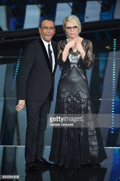 Carlo Conti and Maria De Fillippi attend the fourth night of the 67th Sanremo Festival 2017 at Teatro Ariston on February 10 2017 in Sanremo Italy