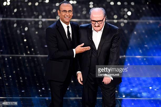 Carlo Conti and Pino Donaggio attend second night 65th Festival di Sanremo 2015 at Teatro Ariston on February 11 2015 in Sanremo Italy