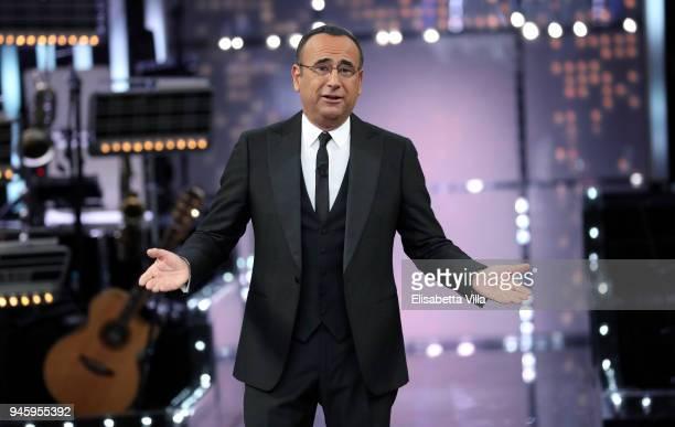 Carlo Conti attends 'La Corrida' tv show on April 13, 2018 in Rome, Italy.