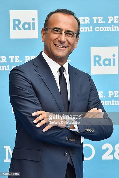 Carlo Conti attends Rai Show Schedule Presentation In Milan on June 28 2016 in Milan Italy