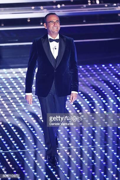Carlo Conti attends the opening night of the 66th Festival di Sanremo 2016 at Teatro Ariston on February 9 2016 in Sanremo Italy