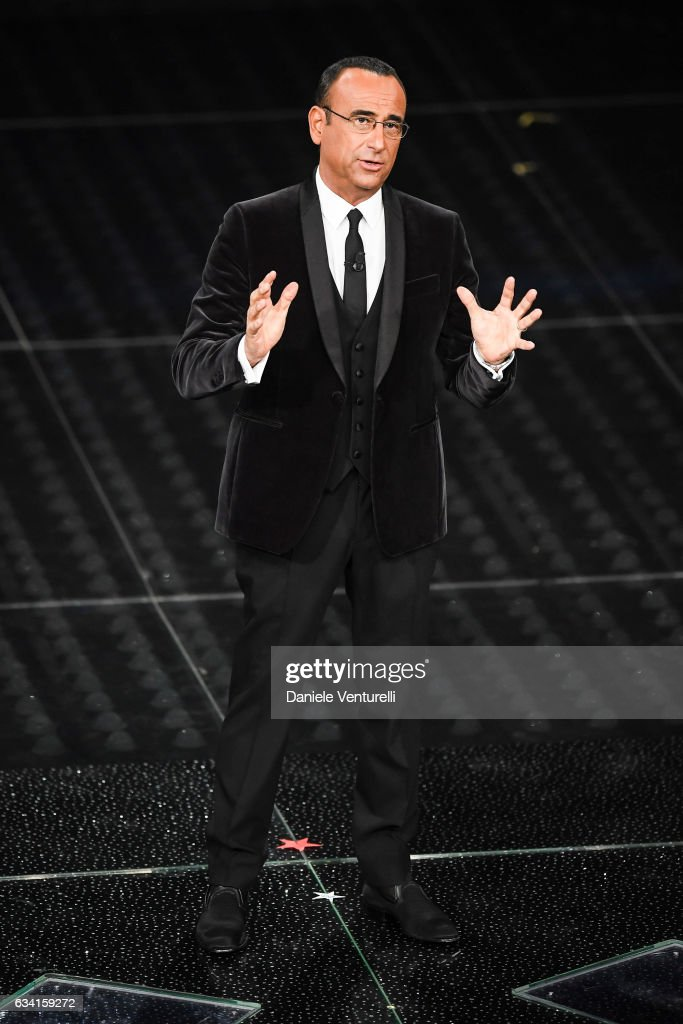 Carlo Conti attends the opening night of the 67th Sanremo Festival 2017 at Teatro Ariston on February 7, 2017 in Sanremo, Italy.