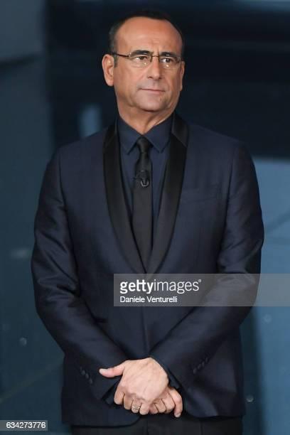 Carlo Conti attends the second night of the 67th Sanremo Festival 2017 at Teatro Ariston on February 8 2017 in Sanremo Italy