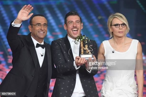 Carlo Conti, Francesco Gabbani and Maria De Filippi attend the closing night of 67th Sanremo Festival 2017 at Teatro Ariston on February 11, 2017 in...