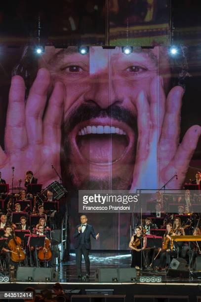 Carlo Conti performs at Luciano Pavarotti 10th Anniversary Concert in Arena di Verona on September 6 2017 in Verona Italy