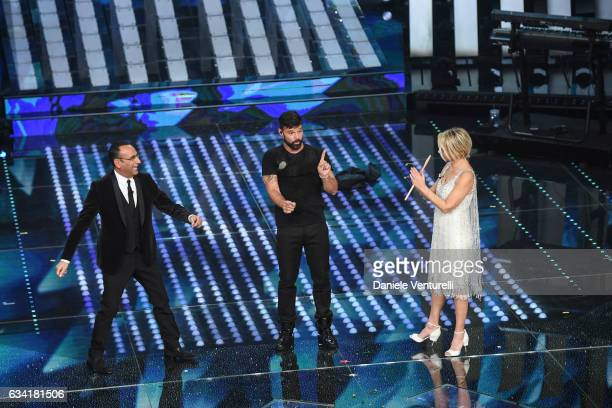 Carlo Conti Ricky Martin and Maria De Filippi attend the opening night of the 67th Sanremo Festival 2017 at Teatro Ariston on February 7 2017 in...