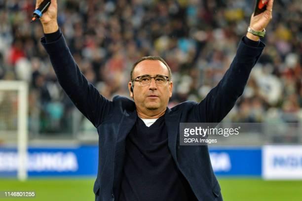 """Carlo Conti seen making gestures during the 'Partita Del Cuore' Charity Match at Allianz Stadium. Campioni Per La Ricerca win the """"Champions for..."""