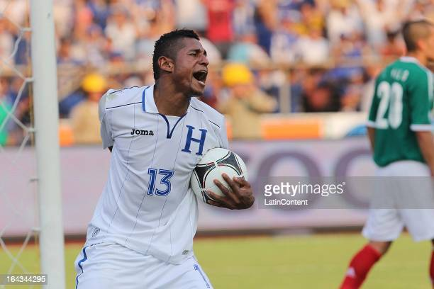 Carlo Costly of Honduras celebrates a goal during a match between Mexico and Honduras as part of the Concacaf Qualifiers at Olimpico de San Pedro...