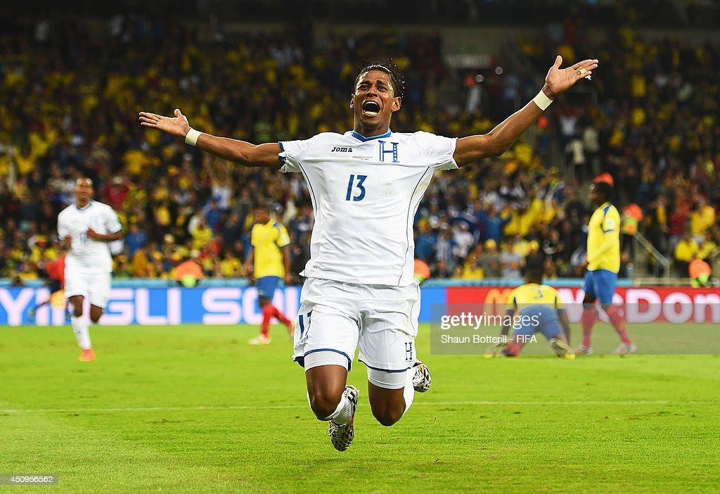 Carlo Costly of Honduras celebrates scoring his team's first goal during the 2014 FIFA World Cup Brazil Group E match between Honduras and Ecuador at Arena da Baixada on June 20, 2014 in Curitiba, Brazil.