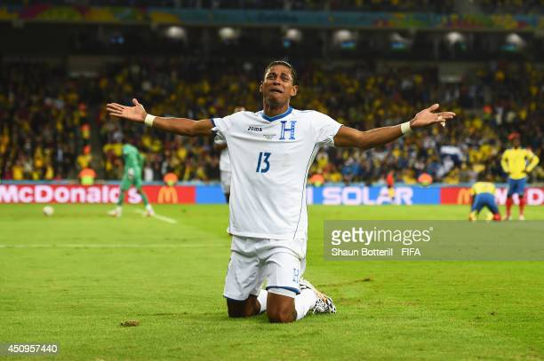 Carlo Costly of Honduras celebrates scoring his team's first goal during the 2014 FIFA World Cup Brazil Group E match between Honduras and Ecuador at...