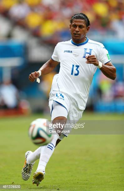 Carlo Costly of Honduras controls the ball during the 2014 FIFA World Cup Brazil Group E match between Honduras and Switzerland at Arena Amazonia on...