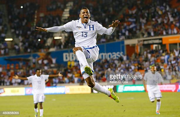 Carlo Costly of Honduras reacts after scoring his second goal against Ecuador during an international friendly match at BBVA Compass Stadium on...