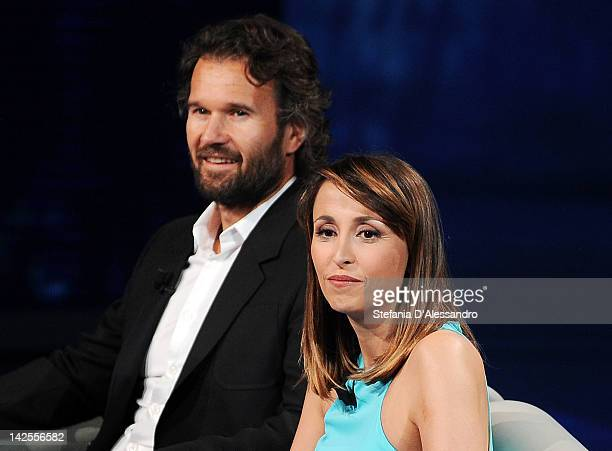 "Carlo Cracco and Benedetta Parodi attend ""Che Tempo Che Fa"" Italian TV Show on April 7, 2012 in Milan, Italy."