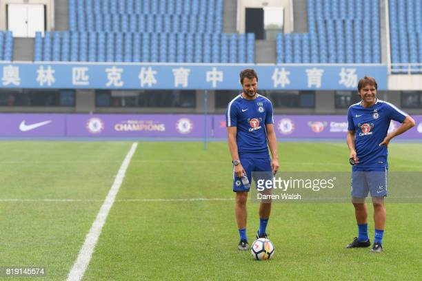 Carlo Cudicini and Antonio Conte of Chelsea during a training session at the AOTI Stadium on July 20 2017 in Beijing China