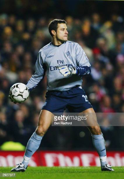 Carlo Cudicini of Chelsea throws the ball out during the FA Barclaycard Premiership match between Chelsea and Liverpool held on January 7 2004 at...