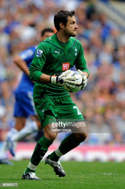 Carlo Cudicini of Spurs in action during the Barclays Premier League match between Chelsea and Tottenham Hotspur at Stamford Bridge on September 20...