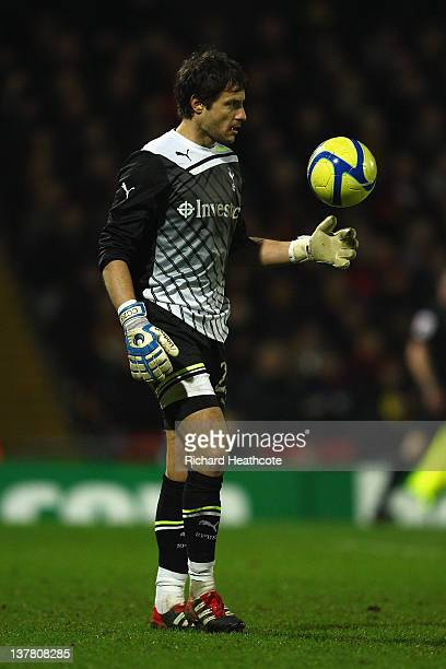 Carlo Cudicini of Spurs looks on during the FA Cup Fourth Round match between Watford and Tottenham Hotspur at Vicarage Road on January 27 2012 in...