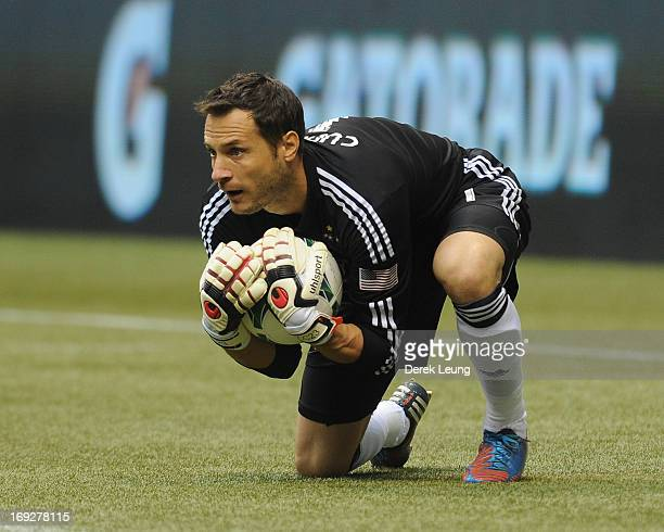 Carlo Cudicini of the Los Angeles Galaxy in action against the Vancouver Whitecaps during an MLS Game at BC Place on May 11 2013 in Vancouver British...
