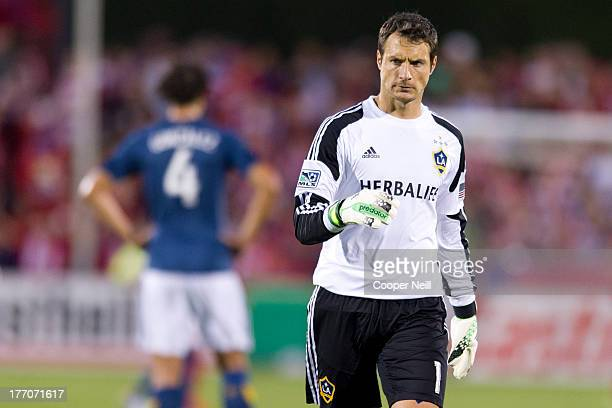 Carlo Cudicini of the Los Angeles Galaxy looks on against FC Dallas on August 11 2013 at FC Dallas Stadium in Frisco Texas