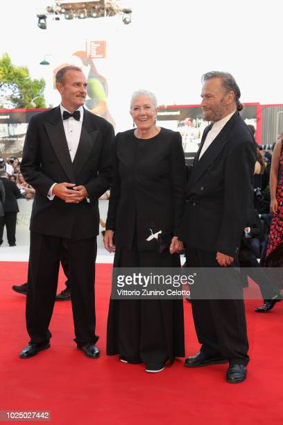 Carlo Gabriel Nero Vanessa Redgrave and Franco Nero walk the red carpet ahead of the opening ceremony and the 'First Man' screening during the 75th...