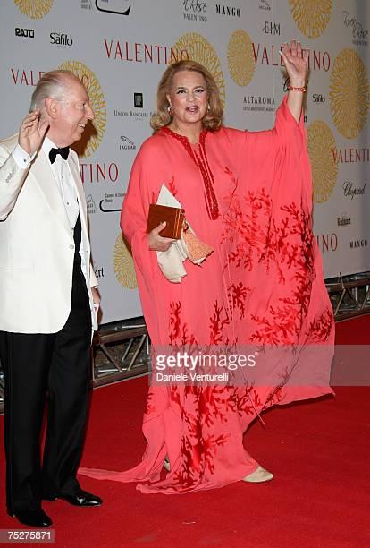 Carlo Giovannelli and Princess Ira von Furstenberg arrive for the 'Valentino 45th Anniversary Celebration' Gala held at the Villa Borghese in the...