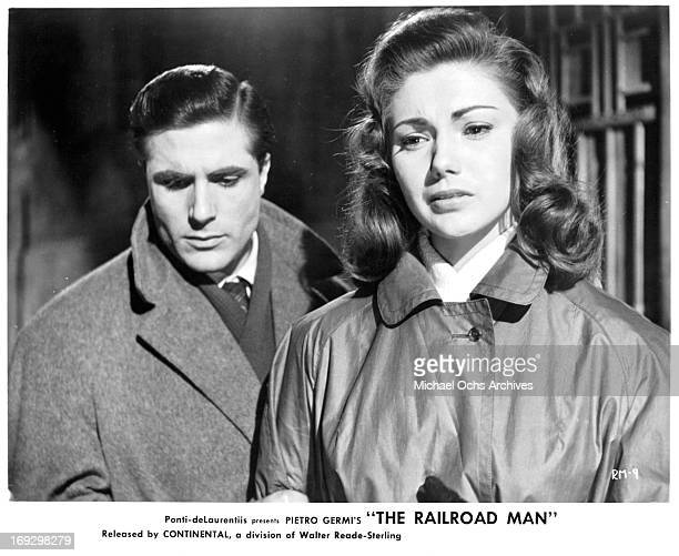 Carlo Giuffre and Sylva Koscina in a scene from the film 'The Railroad Man' 1956