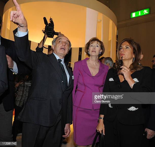 Carlo Guglielmi Letizia Moratti and Emma Marcegaglia visit a stand during the 2011 Salone Internazionale del Mobile opening on April 12 2011 in Rho...