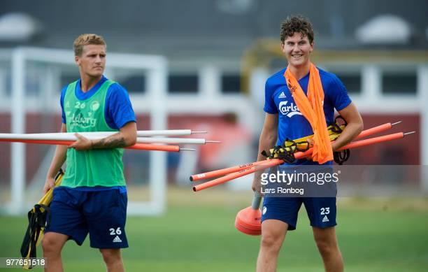 Carlo Holse and Jonas Wind of FC Copenhagen after the FC Copenhagen training session at KB's Baner on June 18 2018 in Frederiksberg Denmark