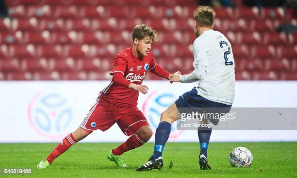 Carlo Holse of FC Copenhagen and Emil Farver of B93 compete for the ball during the Danish Cup DBU Pokalen match match between B93 and FC Copenhagen...