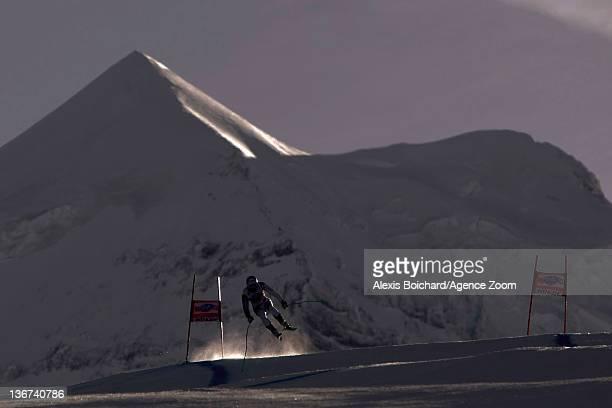 Carlo Janka of Switzerland attends the Audi FIS Alpine Ski World Cup Men's Downhill training on January 11 2012 in Wengen Switzerland