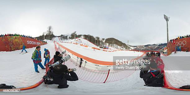 Carlo Janka of Switzerland competes during the Alpine Skiing Men's Downhill at the Sochi 2014 Winter Olympic Games at Rosa Khutor Alpine Center on...