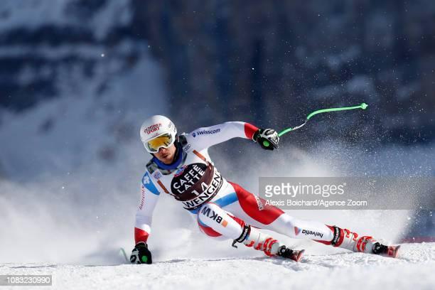 Carlo Janka of Switzerland competes during the Audi FIS Alpine Ski World Cup Men's Downhill Training on January 16 2019 in Wengen Switzerland