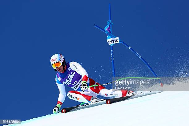 Carlo Janka of Switzerland competes during the Audi FIS Alpine Ski World Cup Finals Men's and Women's SuperG on March 17 2016 in St Moritz Switzerland