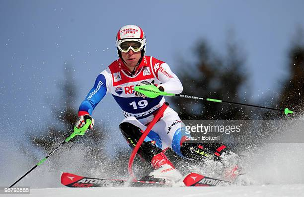 Carlo Janka of Switzerland in action during the FIS Ski World Cup Men's Super Combined Slalom on January 15 2010 in Wengen Switzerland