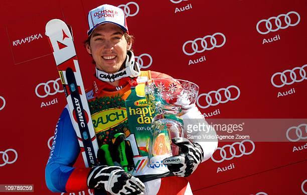 Carlo Janka of Switzerland takes 1st place during the Audi FIS Alpine Ski World Cup Men's Giant Slalom on March 5 2011 in Kranjska Gora Slovenia