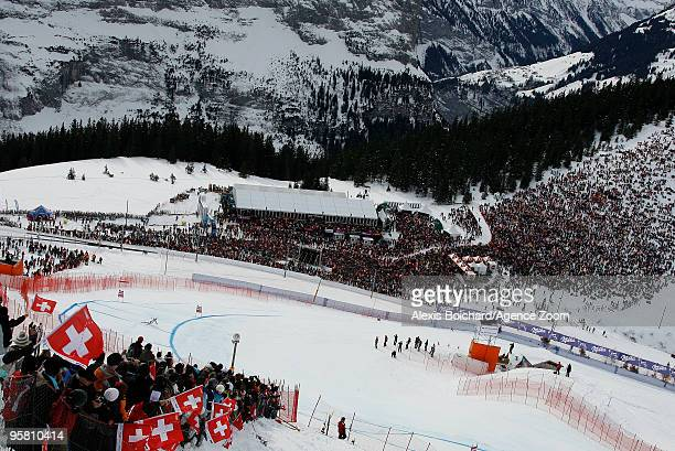 Carlo Janka of Switzerland takes 1st place during the Audi FIS Alpine Ski World Cup Men's Downhill on January 16 2010 in Wengen Switzerland
