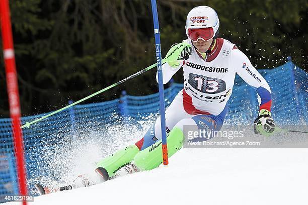 Carlo Janka of Switzerland takes the 1st place during the Audi FIS Alpine Ski World Cup Men's Super Combined on January 16 2015 in Wengen Switzerland