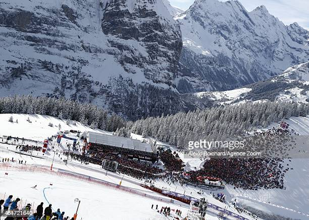 Carlo Janka of Switzerland takes the 3rd place during the Audi FIS Alpine Ski World Cup Men's Downhill on January 18 2015 in Wengen Switzerland