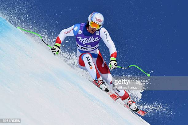 Carlo Janko of Switzerland in action during the the Audi FIS Alpine Ski World Cup Finals Men's and Women's Super G on March 17 2016 in St Moritz...