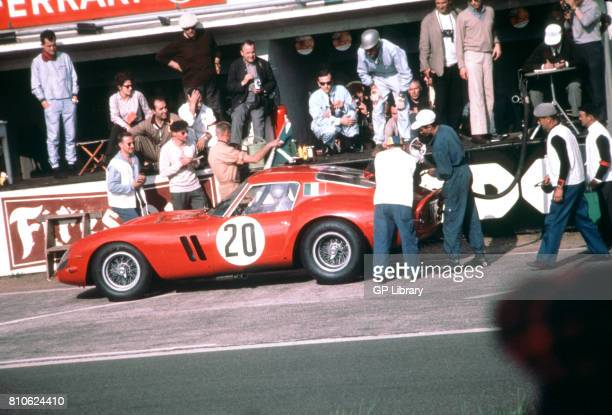 Carlo Maria Abate in a Ferrari 250GTO in the Pits at Le Mans