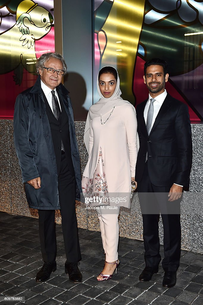 Carlo Mazzi, Khalid Al Tayer and Mariam Al Mehairy attend Miuccia Prada and Patrizio Bertelli private screening of a short movie by David O. Russell and dinner party at Fondazione Prada during Milan Fashion Week Spring/Summer 2017 on September 22, 2016 in Milan, Italy.