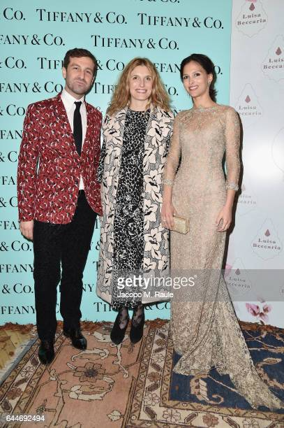 Carlo Mazzoni Martina Mondadori and Nathalie Dompé attend the TiffanyCo And Luisa Beccaria party during Milan Fashion Week Fall/Winter 2017/18 on...