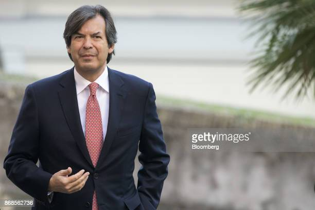 Carlo Messina chief executive officer of Intesa Sanpaola SpA arrives for an event to mark World Savings Day at the Italian Banking Association in...